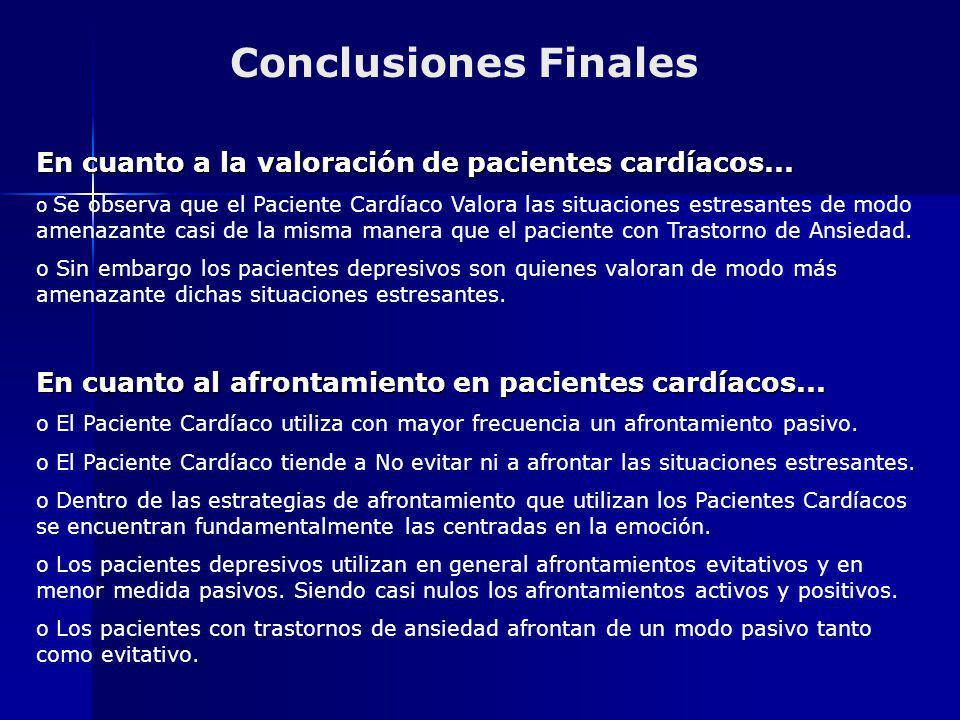 Conclusiones Finales En cuanto a la valoración de pacientes cardíacos... o Se observa que el Paciente Cardíaco Valora las situaciones estresantes de m