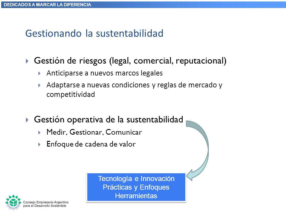 DEDICADOS A MARCAR LA DIFERENCIA Gestionando la sustentabilidad Gestión de riesgos (legal, comercial, reputacional) Anticiparse a nuevos marcos legale