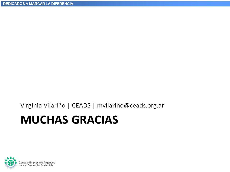 DEDICADOS A MARCAR LA DIFERENCIA MUCHAS GRACIAS Virginia Vilariño | CEADS | mvilarino@ceads.org.ar