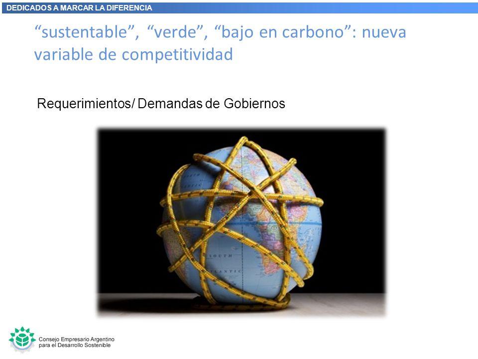 DEDICADOS A MARCAR LA DIFERENCIA sustentable, verde, bajo en carbono: nueva variable de competitividad Requerimientos/ Demandas de Gobiernos