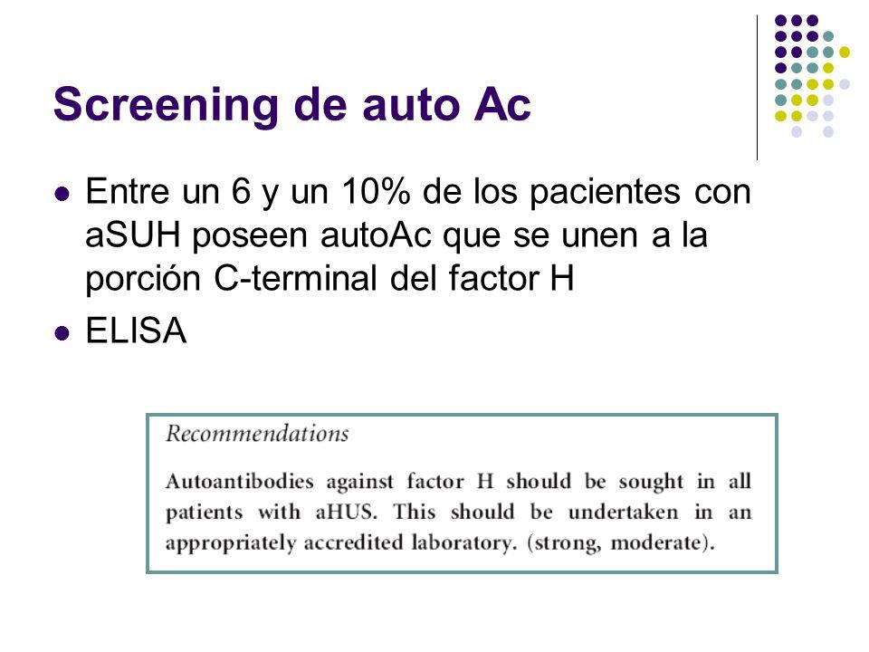 Screening de auto Ac Entre un 6 y un 10% de los pacientes con aSUH poseen autoAc que se unen a la porción C-terminal del factor H ELISA