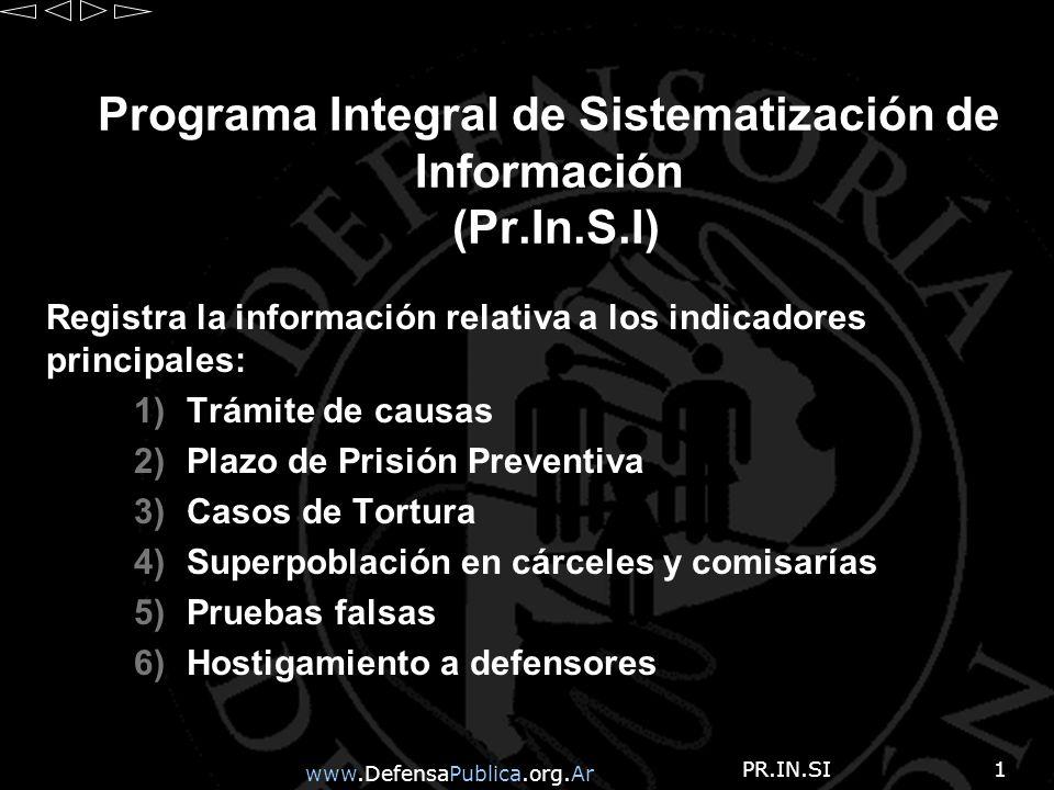 www.DefensaPublica.org.Ar PR.IN.SI2 PR.IN.S.I La informacion se sistematiza en base a los sig.