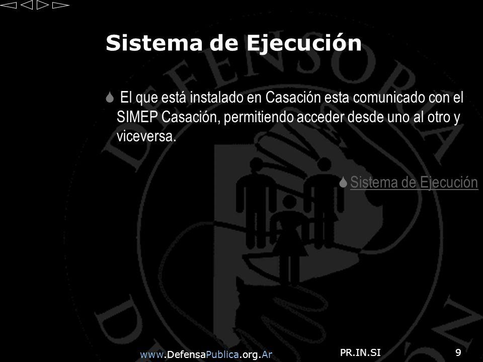 www.DefensaPublica.org.Ar PR.IN.SI9 Sistema de Ejecución El que está instalado en Casación esta comunicado con el SIMEP Casación, permitiendo acceder desde uno al otro y viceversa.