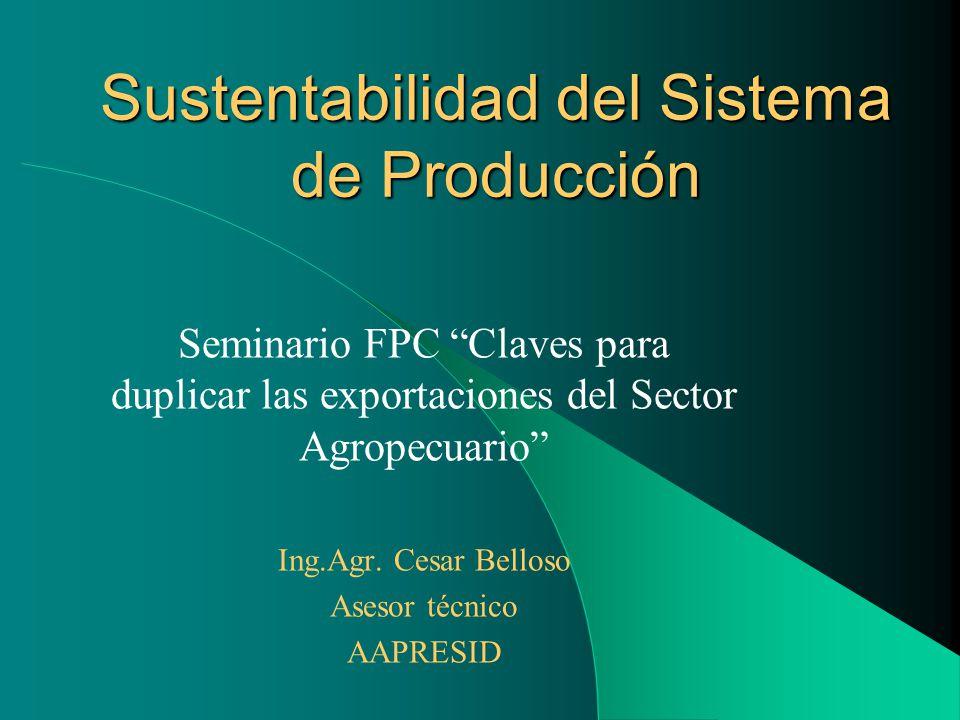 Sustentabilidad del Sistema de Producción Seminario FPC Claves para duplicar las exportaciones del Sector Agropecuario Ing.Agr. Cesar Belloso Asesor t