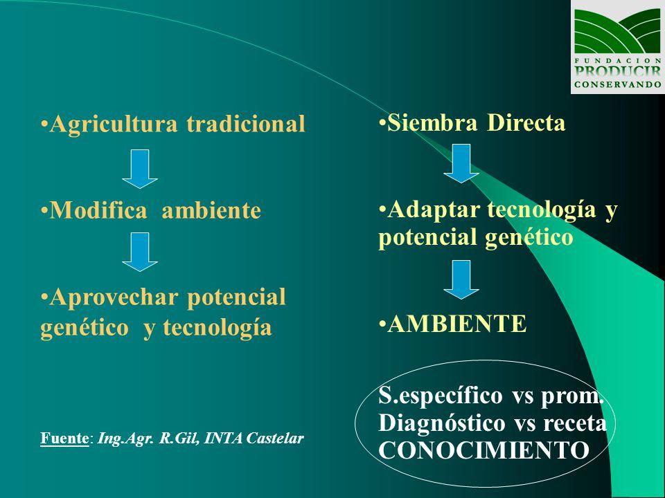 Agricultura tradicional Modifica ambiente Aprovechar potencial genético y tecnología Fuente: Ing.Agr. R.Gil, INTA Castelar Siembra Directa Adaptar tec