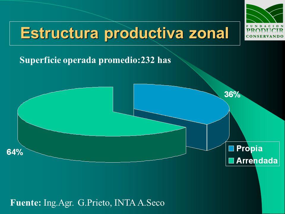 Estructura productiva zonal Superficie operada promedio:232 has Fuente: Ing.Agr. G.Prieto, INTA A.Seco