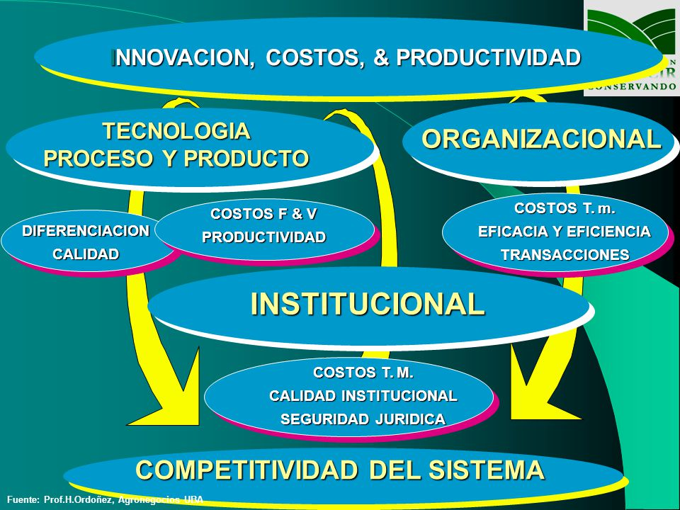 INNOVACION, COSTOS, & PRODUCTIVIDAD DIFERENCIACIONCALIDAD COSTOS F & V PRODUCTIVIDAD COMPETITIVIDAD DEL SISTEMA TECNOLOGIA PROCESO Y PRODUCTO ORGANIZA