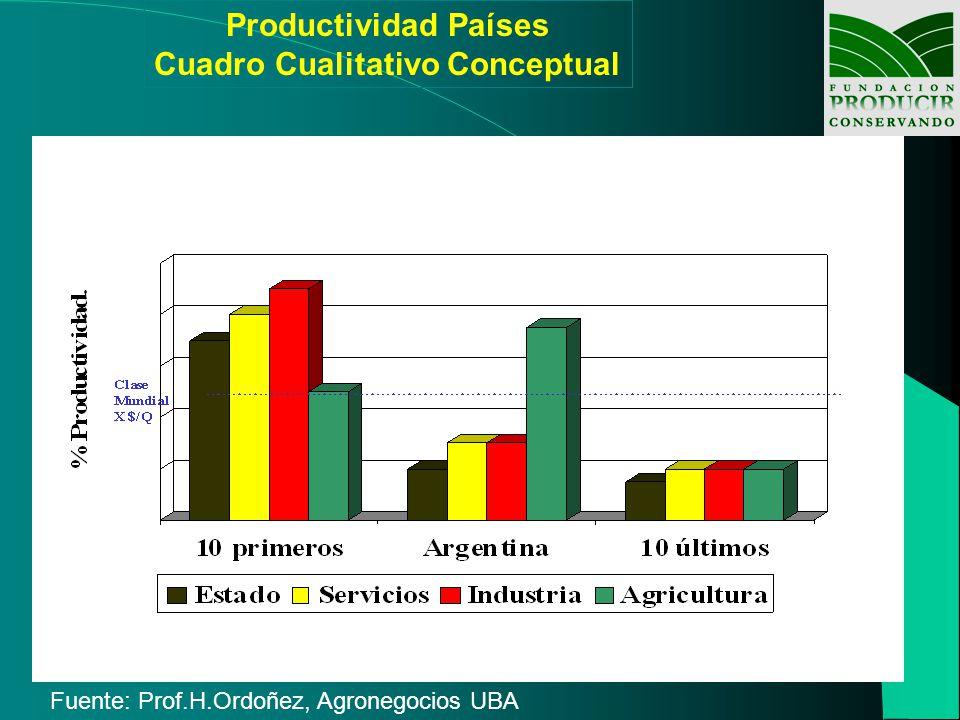 Productividad Países Cuadro Cualitativo Conceptual Fuente: Prof.H.Ordoñez, Agronegocios UBA
