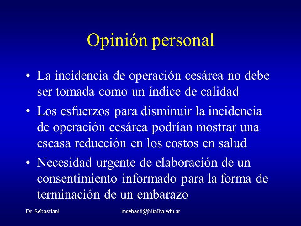 Dr. Sebastianimsebasti@hitalba.edu.ar Opinión personal La incidencia de operación cesárea no debe ser tomada como un índice de calidad Los esfuerzos p