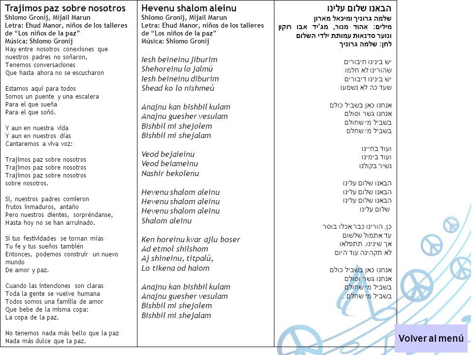 Trajimos paz sobre nosotros Shlomo Gronij, Mijail Marun Letra: Ehud Manor, niños de los talleres de Los niños de la paz Música: Shlomo Gronij Hay entr