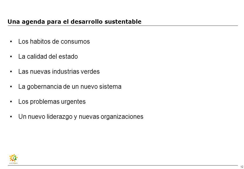 12 Una agenda para el desarrollo sustentable Los habitos de consumos La calidad del estado Las nuevas industrias verdes La gobernancia de un nuevo sistema Los problemas urgentes Un nuevo liderazgo y nuevas organizaciones