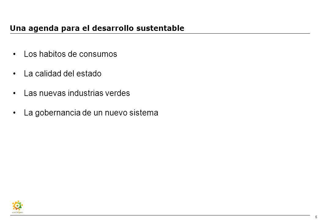 5 Una agenda para el desarrollo sustentable Los habitos de consumos La calidad del estado Las nuevas industrias verdes La gobernancia de un nuevo sistema
