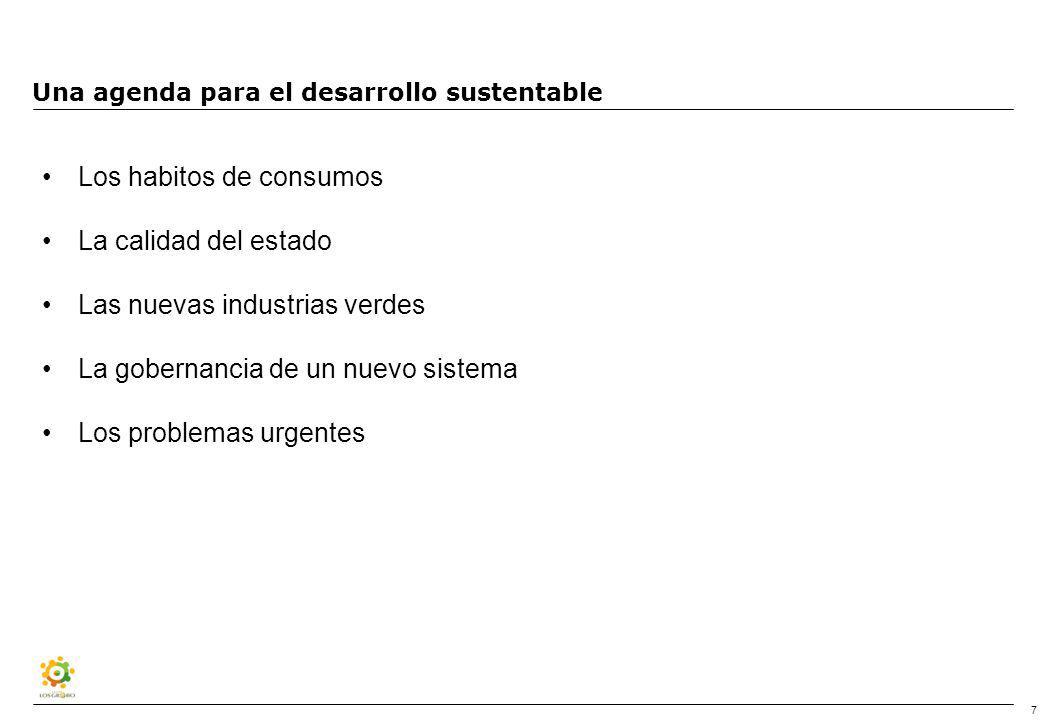 7 Una agenda para el desarrollo sustentable Los habitos de consumos La calidad del estado Las nuevas industrias verdes La gobernancia de un nuevo sistema Los problemas urgentes