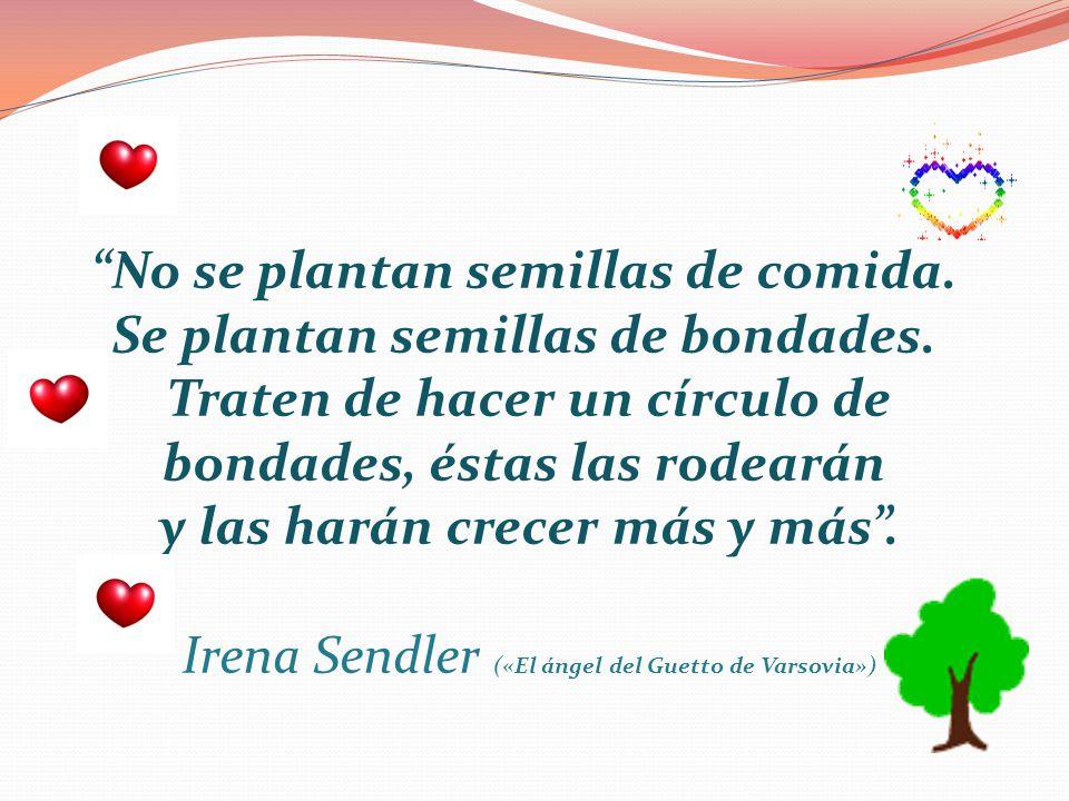 No se plantan semillas de comida. Se plantan semillas de bondades. Traten de hacer un círculo de bondades, éstas las rodearán y las harán crecer más y