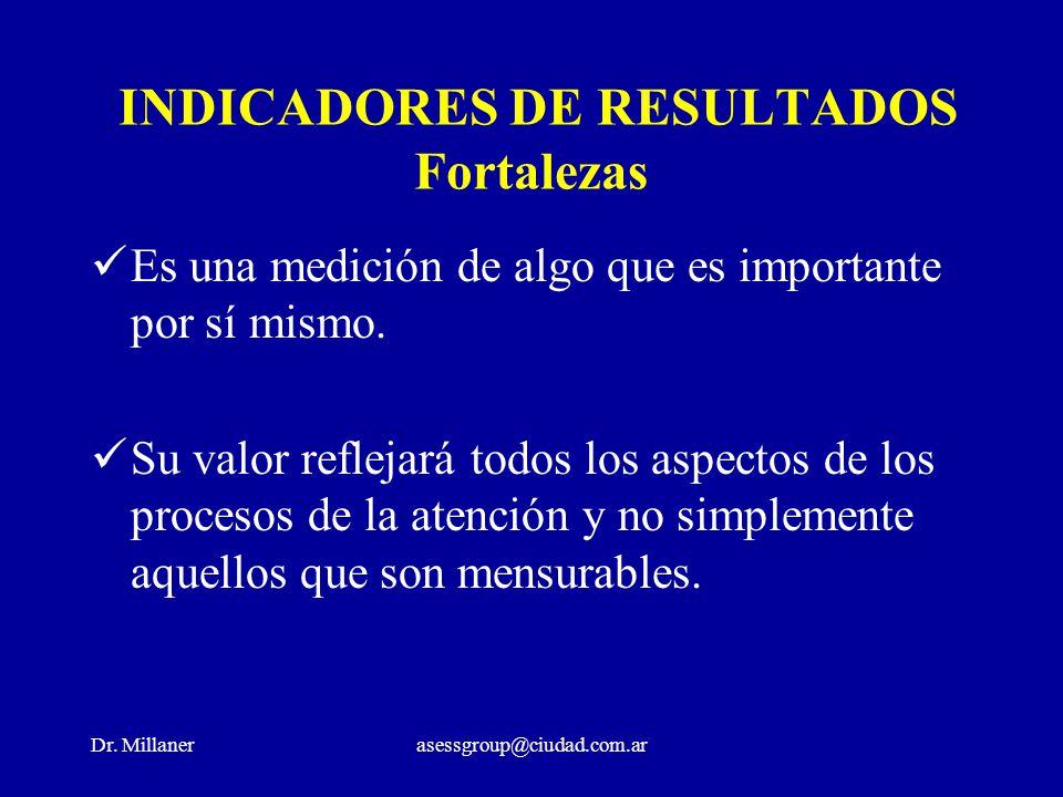 Dr. Millanerasessgroup@ciudad.com.ar INDICADORES DE RESULTADOS Fortalezas Es una medición de algo que es importante por sí mismo. Su valor reflejará t