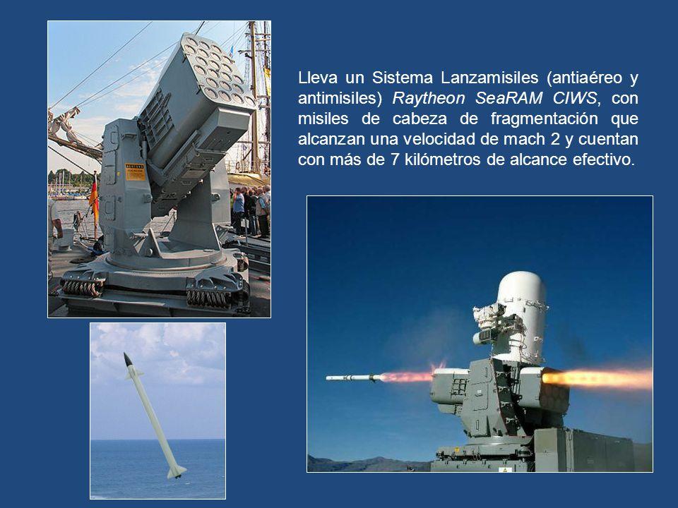A babor y a estribor, lleva sendos Decoy Launching System, los cuales se encargan de lanzar bengalas para burlar misiles mientras la nave se halla baj