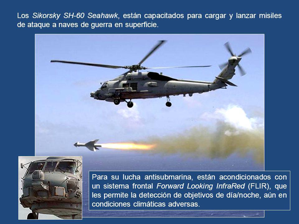 Siempre lleva dos (2) helicópteros Sikorsky SH-60 Seahawk, como naves de guerra antisubmarina (ASW), búsqueda y rescate (SAR) y guerra anti-superficie (ASUW), que cargan torpedos Mk-46 y un grupo de ametralladoras montadas en la cabina para defensa, que pueden ser la M60D, la M240 y la GAU-16.