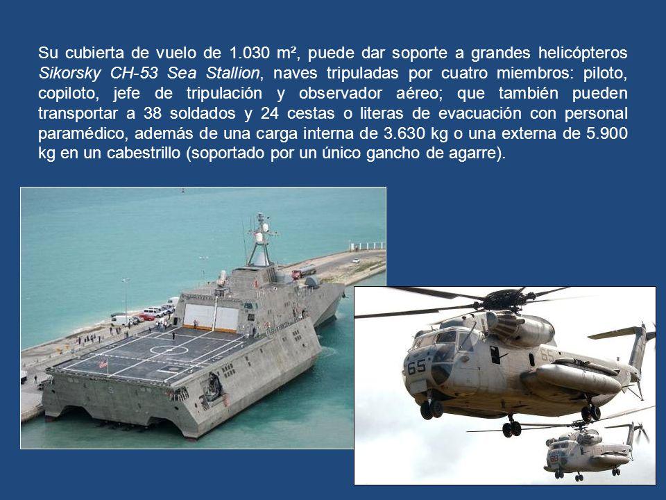 Está basado en un casco del trimarán de alta velocidad construido por Austal, con 127 metros de eslora, para una tripulación de 40 personas, que puede