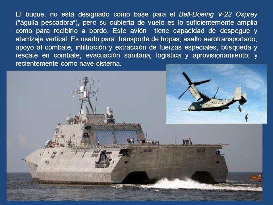 Su cubierta de vuelo de 1.030 m², puede dar soporte a grandes helicópteros Sikorsky CH-53 Sea Stallion, naves tripuladas por cuatro miembros: piloto,
