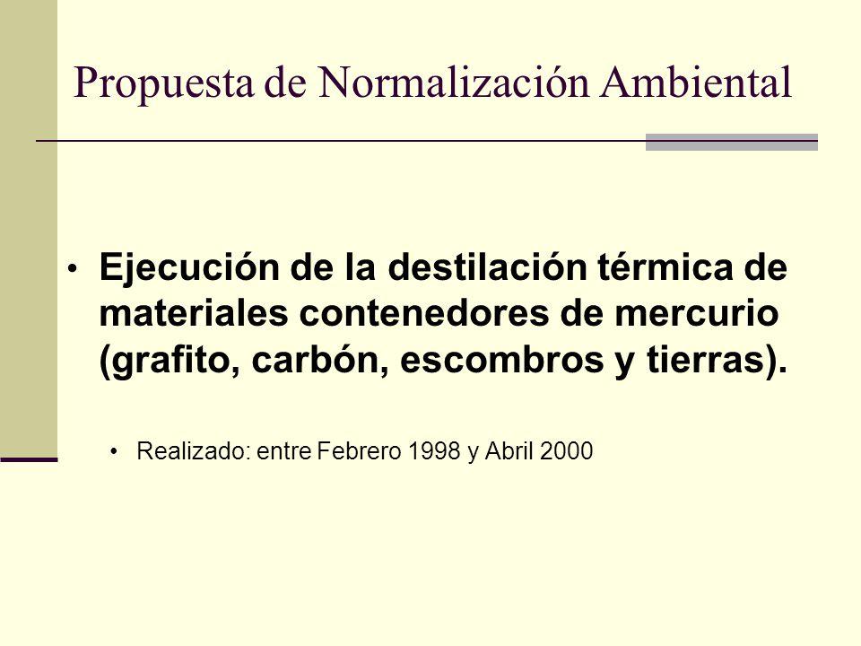 Propuesta de Normalización Ambiental Ejecución de la destilación térmica de materiales contenedores de mercurio (grafito, carbón, escombros y tierras)