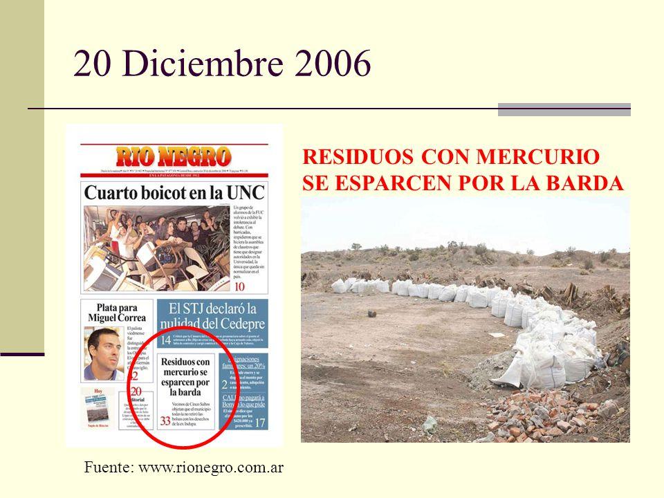 20 Diciembre 2006 RESIDUOS CON MERCURIO SE ESPARCEN POR LA BARDA Fuente: www.rionegro.com.ar