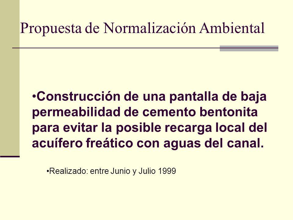 Propuesta de Normalización Ambiental Construcción de una pantalla de baja permeabilidad de cemento bentonita para evitar la posible recarga local del