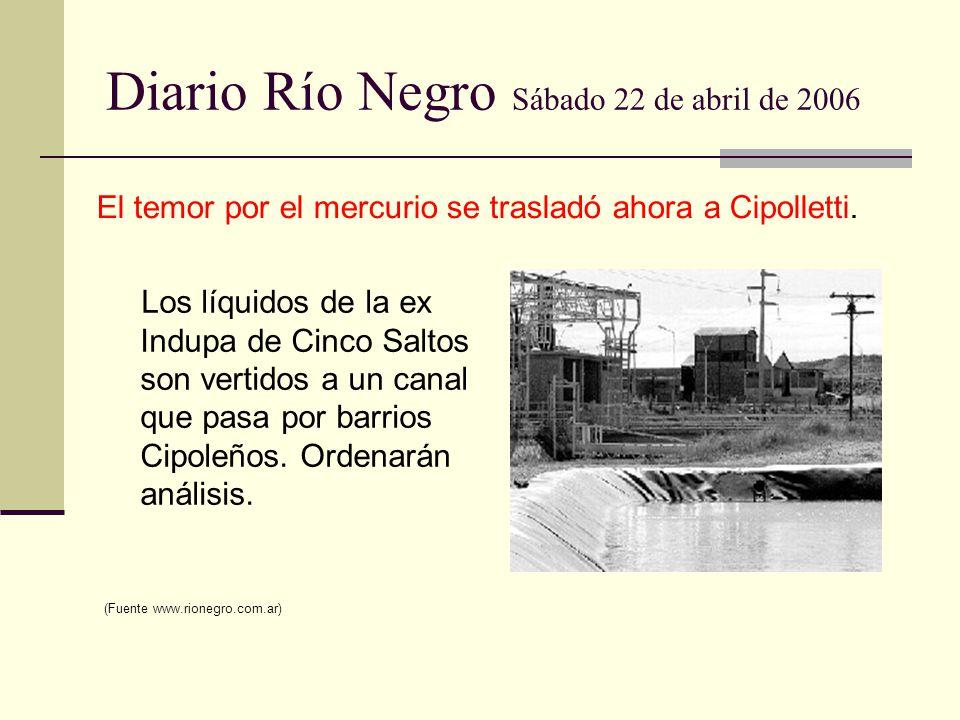 Diario Río Negro Sábado 22 de abril de 2006 Los líquidos de la ex Indupa de Cinco Saltos son vertidos a un canal que pasa por barrios Cipoleños. Orden