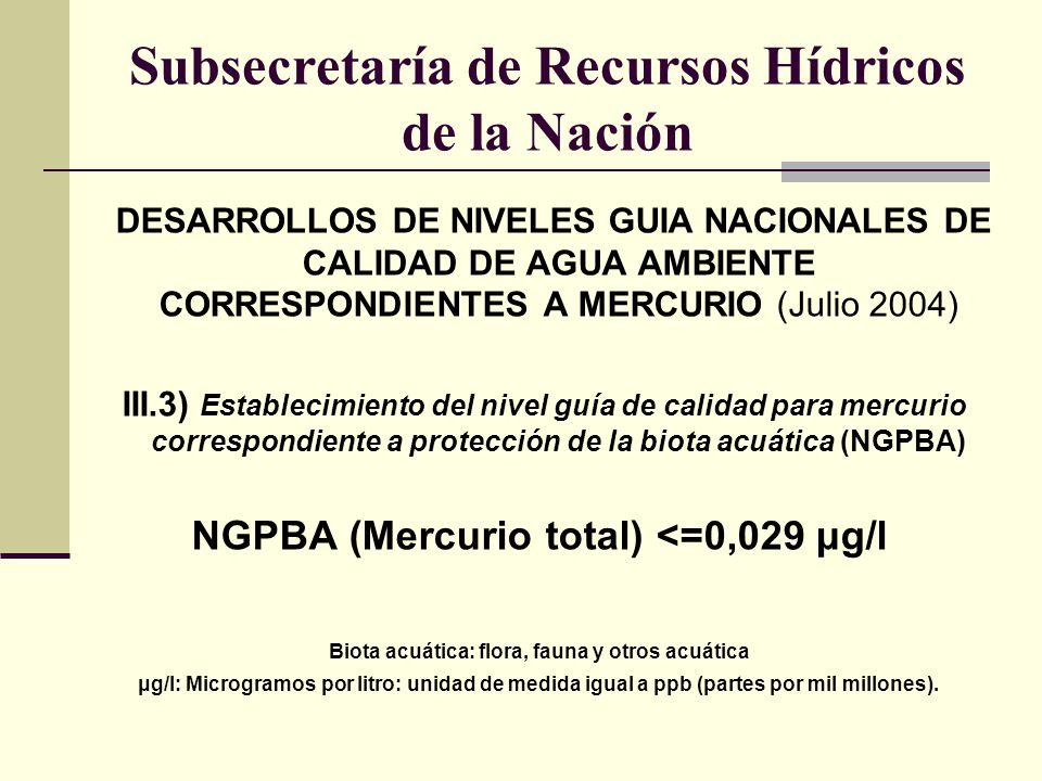DESARROLLOS DE NIVELES GUIA NACIONALES DE CALIDAD DE AGUA AMBIENTE CORRESPONDIENTES A MERCURIO (Julio 2004) III.3) Establecimiento del nivel guía de c