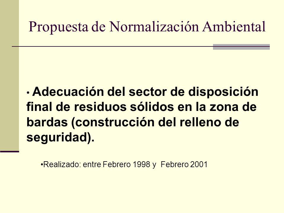 Propuesta de Normalización Ambiental Adecuación del sector de disposición final de residuos sólidos en la zona de bardas (construcción del relleno de