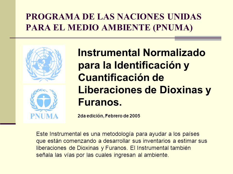 PROGRAMA DE LAS NACIONES UNIDAS PARA EL MEDIO AMBIENTE (PNUMA) Instrumental Normalizado para la Identificación y Cuantificación de Liberaciones de Dio