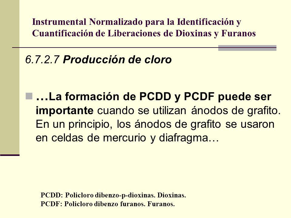 Instrumental Normalizado para la Identificación y Cuantificación de Liberaciones de Dioxinas y Furanos 6.7.2.7 Producción de cloro … La formación de P