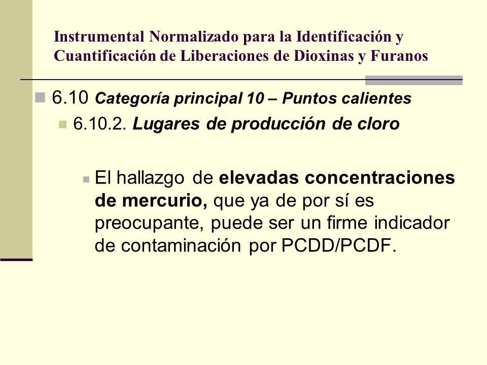 Instrumental Normalizado para la Identificación y Cuantificación de Liberaciones de Dioxinas y Furanos 6.10 Categoría principal 10 – Puntos calientes