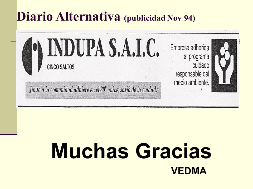Diario Alternativa (publicidad Nov 94) Muchas Gracias VEDMA