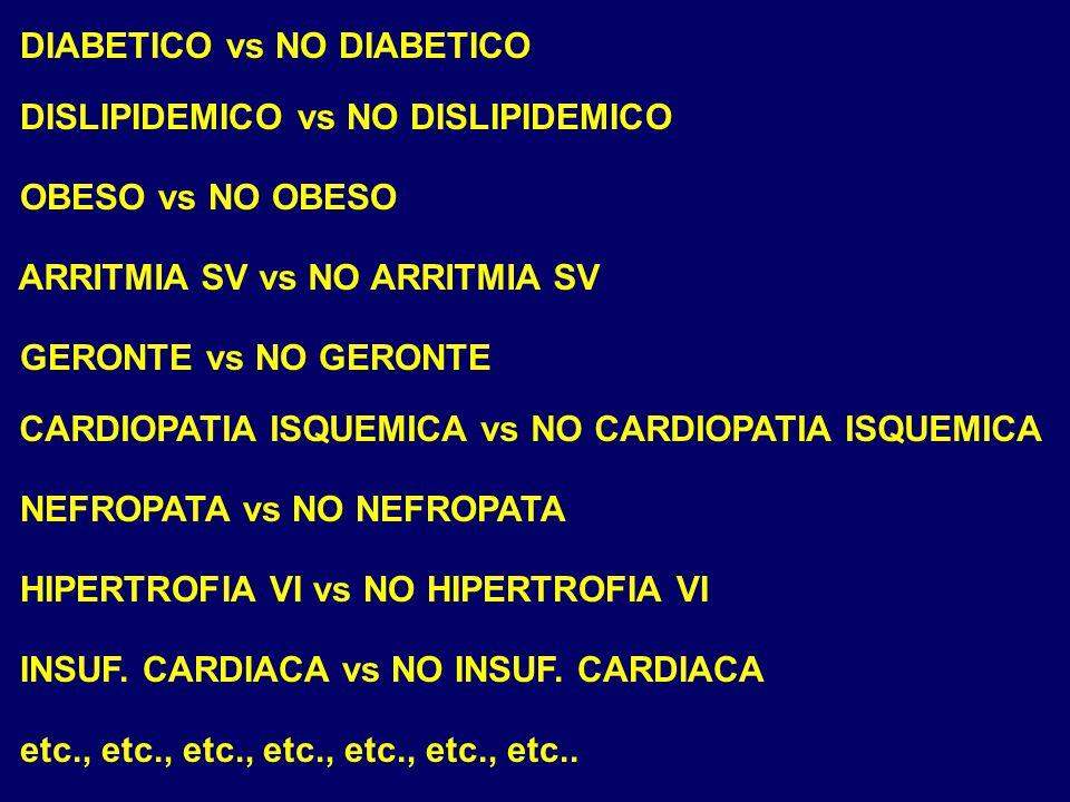 DIABETICO vs NO DIABETICO DISLIPIDEMICO vs NO DISLIPIDEMICO OBESO vs NO OBESO GERONTE vs NO GERONTE NEFROPATA vs NO NEFROPATA HIPERTROFIA VI vs NO HIP