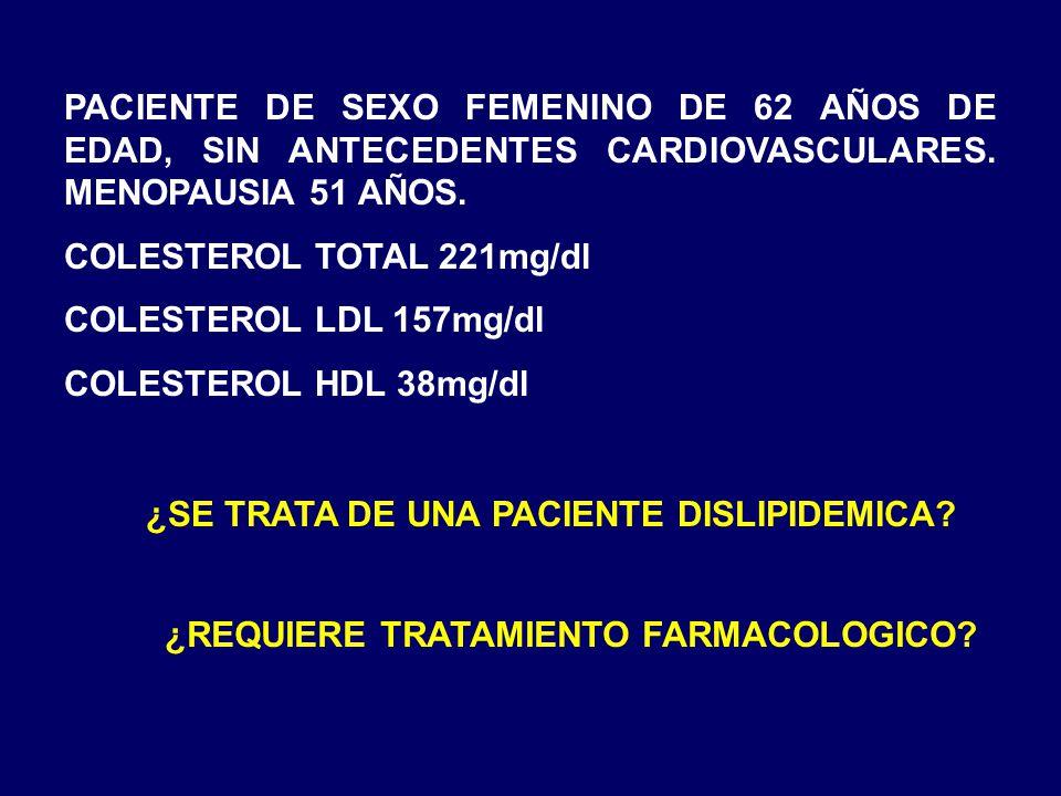 PACIENTE DE SEXO FEMENINO DE 62 AÑOS DE EDAD, SIN ANTECEDENTES CARDIOVASCULARES. MENOPAUSIA 51 AÑOS. COLESTEROL TOTAL 221mg/dl COLESTEROL LDL 157mg/dl
