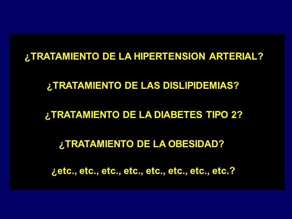 ¿TRATAMIENTO DE LA HIPERTENSION ARTERIAL? ¿TRATAMIENTO DE LAS DISLIPIDEMIAS? ¿TRATAMIENTO DE LA DIABETES TIPO 2? ¿TRATAMIENTO DE LA OBESIDAD? ¿etc., e