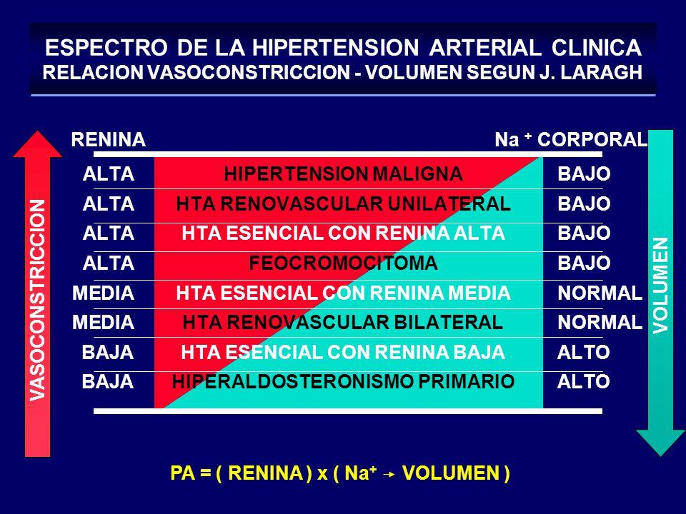 RENINA Na + CORPORAL ALTAHIPERTENSION MALIGNABAJO ALTAHTA RENOVASCULAR UNILATERALBAJO ALTAHTA ESENCIAL CON RENINA ALTABAJO ALTAFEOCROMOCITOMABAJO MEDI