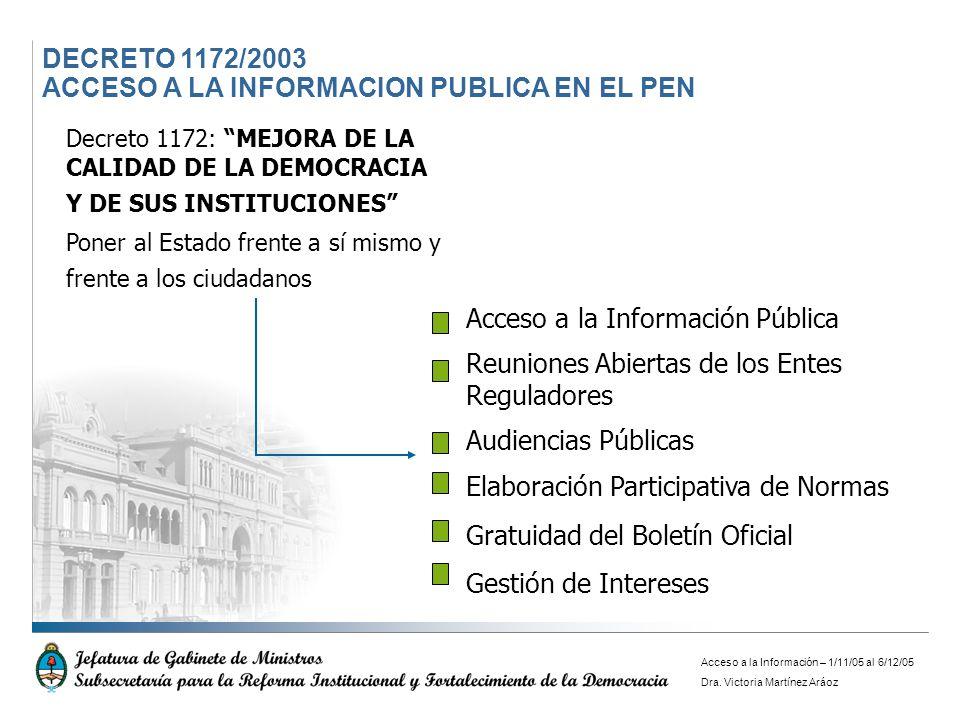 DECRETO 1172/2003 ACCESO A LA INFORMACION PUBLICA EN EL PEN Decreto 1172: MEJORA DE LA CALIDAD DE LA DEMOCRACIA Y DE SUS INSTITUCIONES Poner al Estado