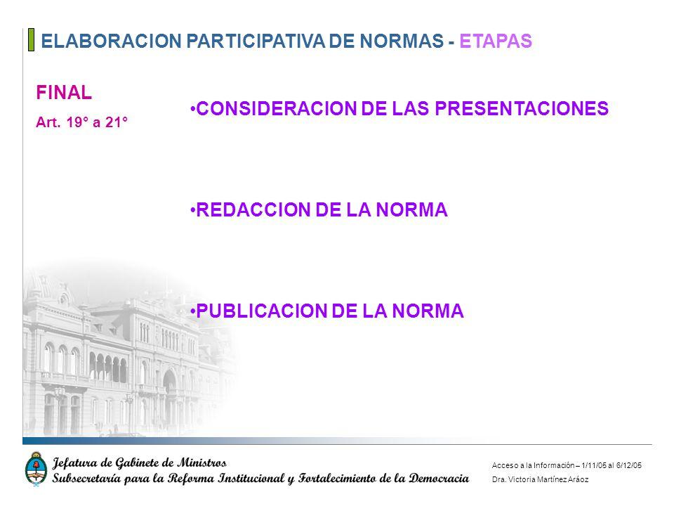 ELABORACION PARTICIPATIVA DE NORMAS - ETAPAS FINAL Art. 19° a 21° CONSIDERACION DE LAS PRESENTACIONES REDACCION DE LA NORMA PUBLICACION DE LA NORMA Ac