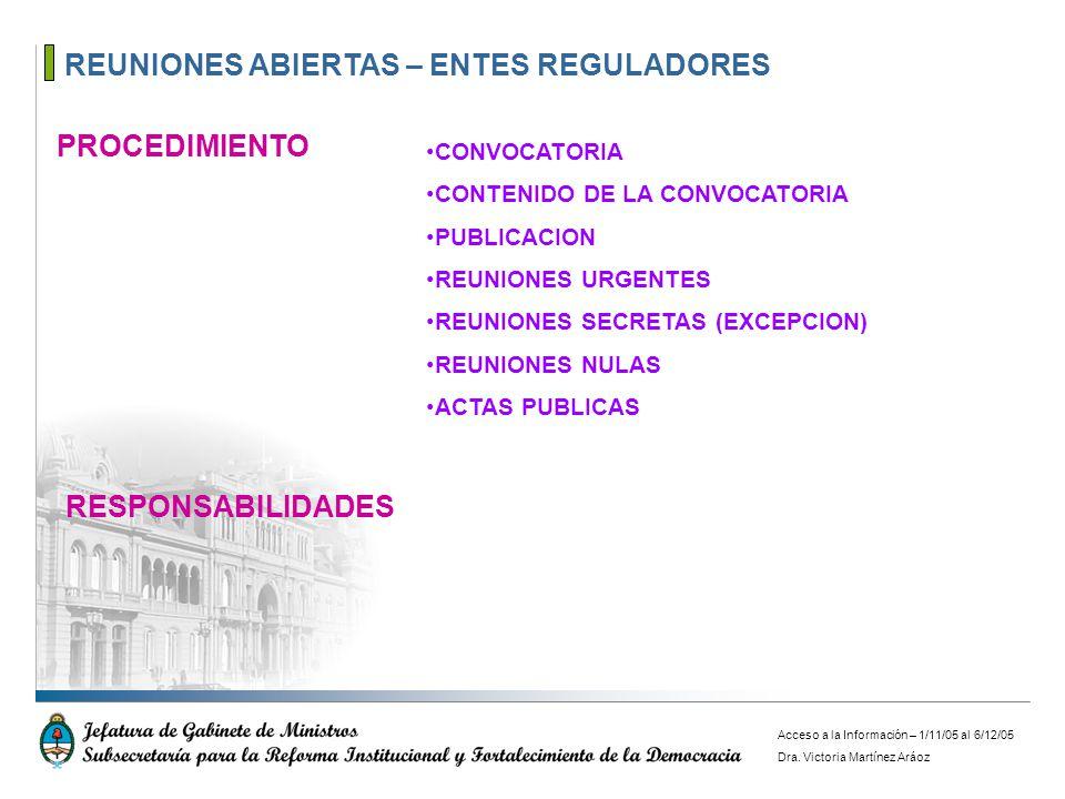 REUNIONES ABIERTAS – ENTES REGULADORES PROCEDIMIENTO CONVOCATORIA CONTENIDO DE LA CONVOCATORIA PUBLICACION REUNIONES URGENTES REUNIONES SECRETAS (EXCE