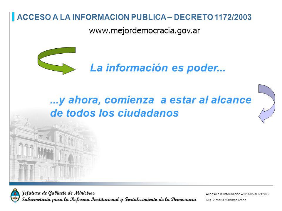 ACCESO A LA INFORMACION PUBLICA – DECRETO 1172/2003 www.mejordemocracia.gov.ar...y ahora, comienza a estar al alcance de todos los ciudadanos La infor