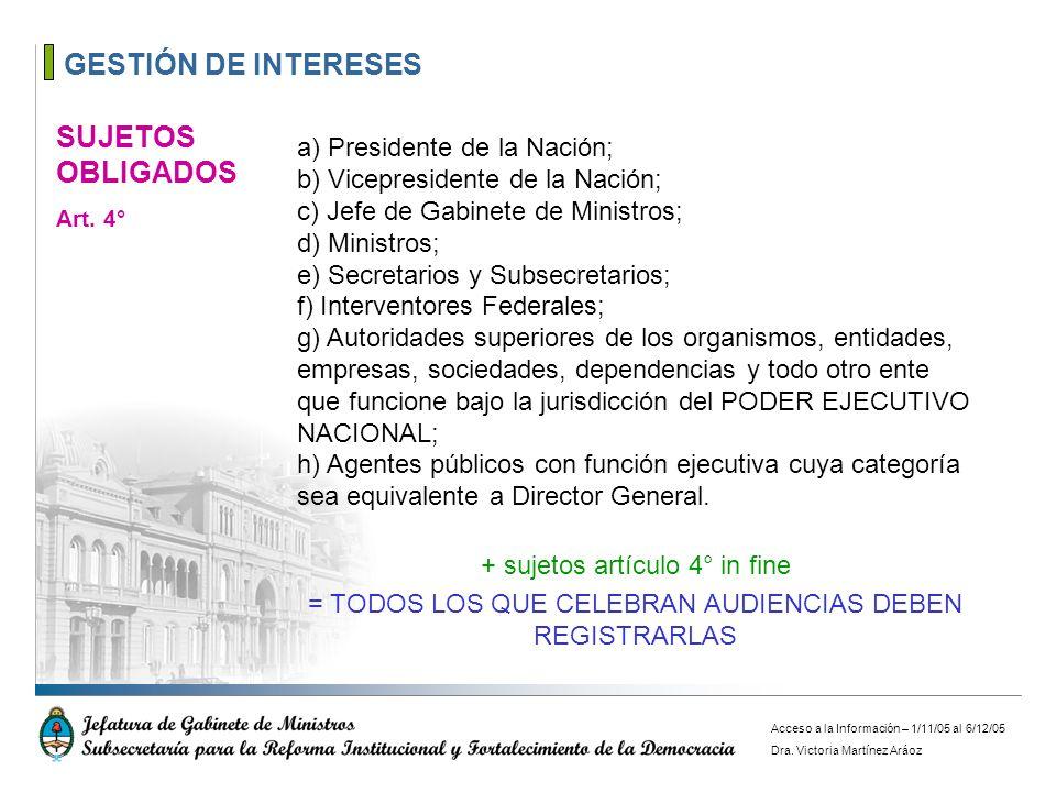 GESTIÓN DE INTERESES a) Presidente de la Nación; b) Vicepresidente de la Nación; c) Jefe de Gabinete de Ministros; d) Ministros; e) Secretarios y Subs