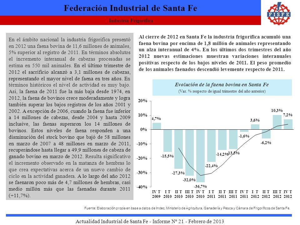 Industria Frigorífica Federación Industrial de Santa Fe Actualidad Industrial de Santa Fe - Informe Nº 21 - Febrero de 2013 En el ámbito nacional la industria frigorífica presentó en 2012 una faena bovina de 11,6 millones de animales, 5% superior al registro de 2011.