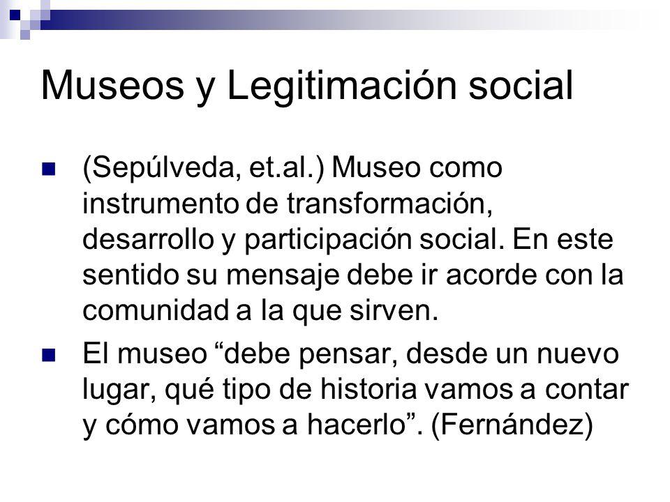 Museos y Legitimación social (Sepúlveda, et.al.) Museo como instrumento de transformación, desarrollo y participación social.