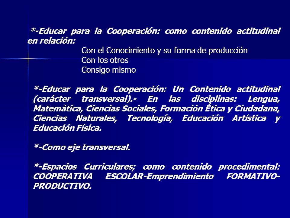 *-Educar para la Cooperación: como contenido actitudinal en relación: Con el Conocimiento y su forma de producción Con los otros Consigo mismo *-Educa