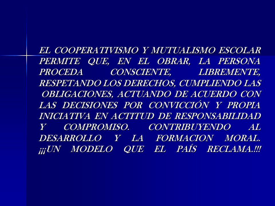 EL COOPERATIVISMO Y MUTUALISMO ESCOLAR PERMITE QUE, EN EL OBRAR, LA PERSONA PROCEDA CONSCIENTE, LIBREMENTE, RESPETANDO LOS DERECHOS, CUMPLIENDO LAS OB