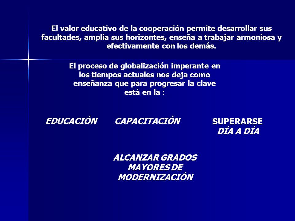 El valor educativo de la cooperación permite desarrollar sus facultades, amplía sus horizontes, enseña a trabajar armoniosa y efectivamente con los de