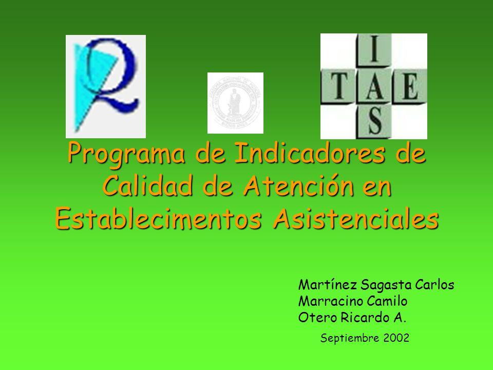 Programa de Indicadores de Calidad de Atención en Establecimentos Asistenciales Martínez Sagasta Carlos Marracino Camilo Otero Ricardo A. Septiembre 2