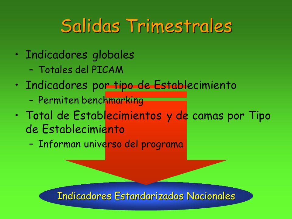 Indicadores Estandarizados Nacionales Salidas Trimestrales Indicadores globales –Totales del PICAM Indicadores por tipo de Establecimiento –Permiten b