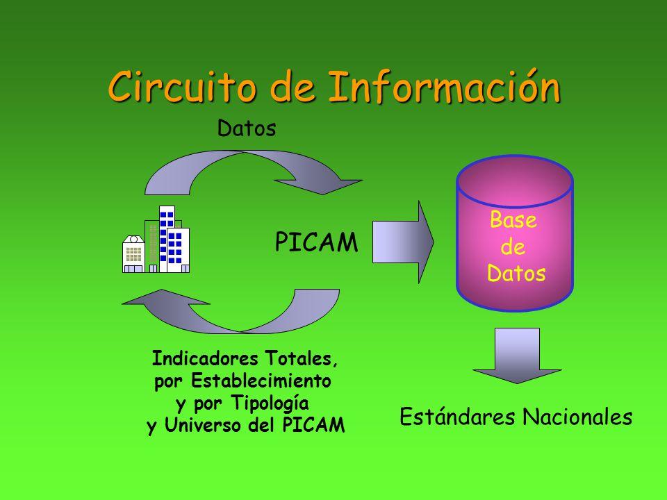 Circuito de Información PICAM Datos Base de Datos Indicadores Totales, por Establecimiento y por Tipología y Universo del PICAM Estándares Nacionales